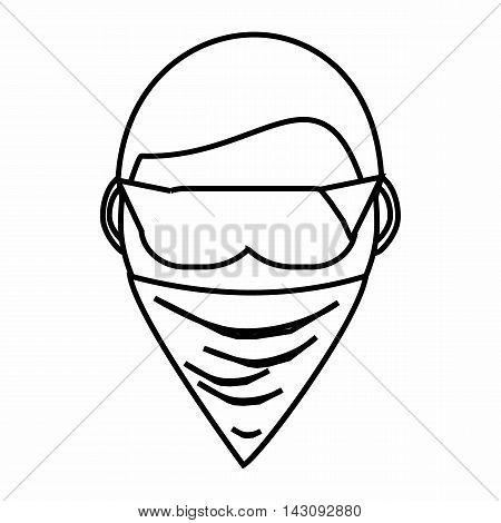 Spy in mask icon in outline style isolated on white background. Spying symbol