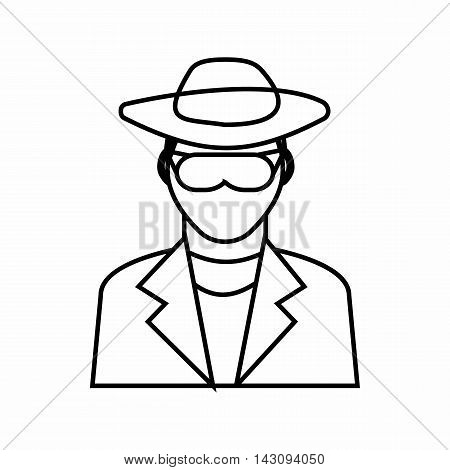 Detective icon in outline style isolated on white background. Police symbol