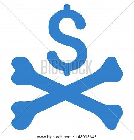 Mortal Debt icon. Vector style is flat iconic symbol with rounded angles, cobalt color, white background.