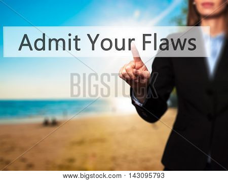 Admit Your Flaws - Isolated Female Hand Touching Or Pointing To Button
