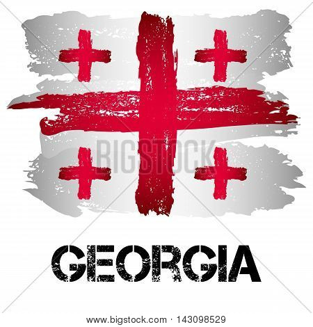 Flag of Georgia from brush strokes in grunge style isolated on white background. Country on borders of Europe and Asia. Vector illustration