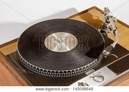 Overview Vintage Grungy Record Playing Turn Table