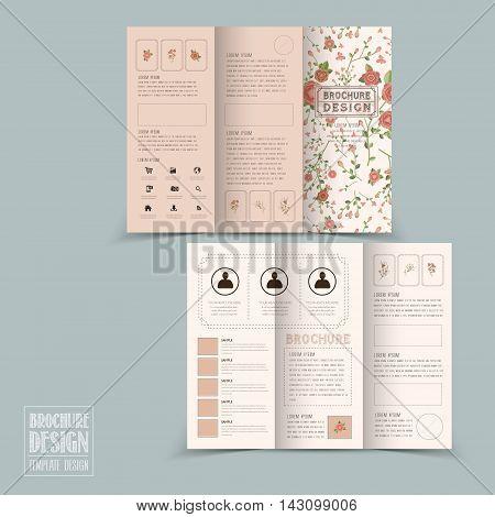 Graceful Floral Tri-fold Brochure Template Design