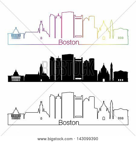 Boston skyline linear style with rainbow in editable vector file
