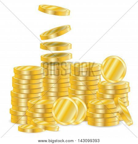 Vector illustration of a golden coins  isolated on a white background