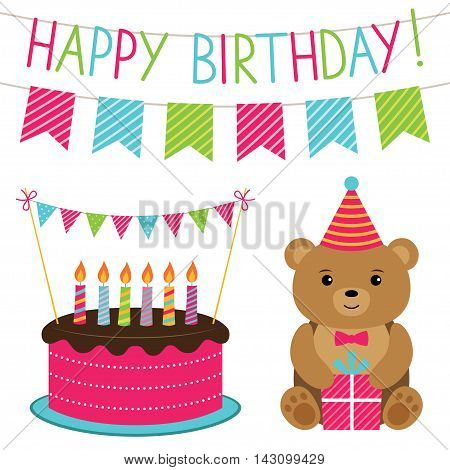 Bithday party design elements set with a bear and a cake