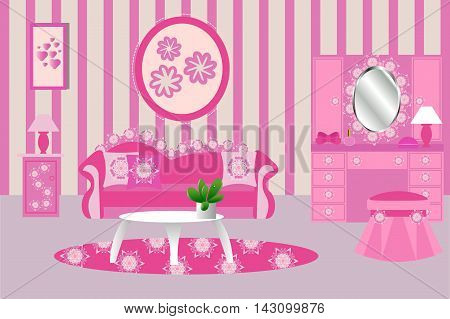 Living room interior vector illustration, pink, sofa, Desk, carpet, wardrobe, chest of drawers, mirror, decoration, cushion, picture, lamp, cartoon