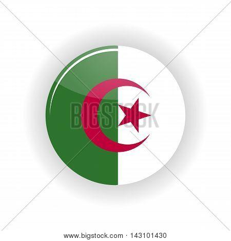 Algeria icon circle isolated on white background. Algeria icon vector illustration