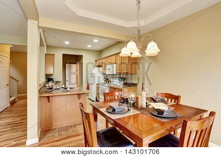 Dining Area Connected To Kitchen Room Interior. Open Floor Plan