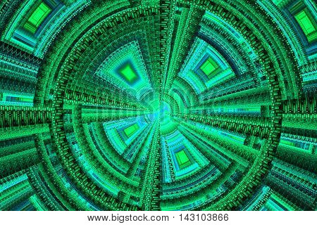 Abstract light blue technical square fractal on green background