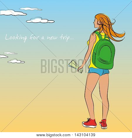 Woman traveler with a backpack vector illustration