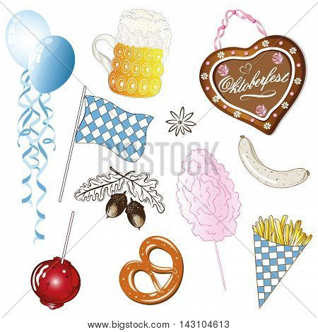 Colorful oktoberfest vector set, food and drinks.