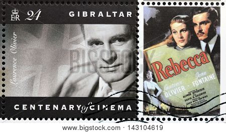 LUGA, RUSSIA - MAY 15, 2015: A postage stamp printed by GIBRALTAR shows image portrait of English actor Laurence Olivier circa 1995.