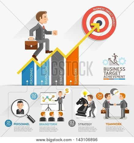 Business Growth Arrow Strategies Concept. Businessman walking on arrow. Vector illustration. Can be used for workflow layout banner diagram number options step up options web design timeline infographic template.