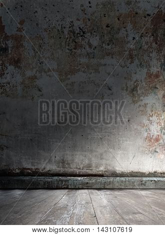 old grungy room with concrete wall