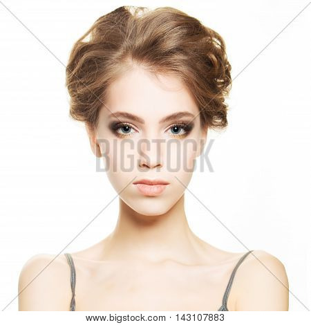 Young woman with clear healthy skin on white