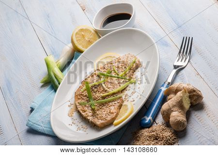 roasted swordfish with leek ginger and sesame seed