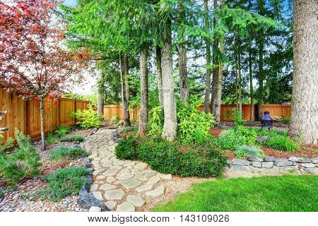 Fenced Back Yard With Well Kept Garden.