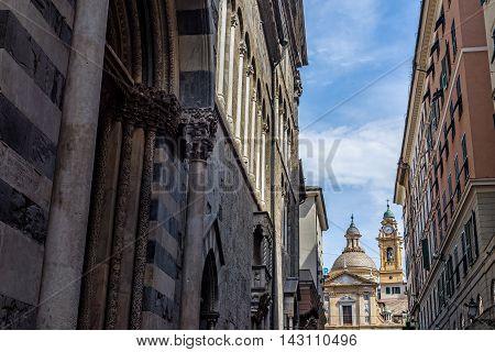 San Lorenzo Cathedral Santi Ambrogio Church Of Genova. Liguria, Italy.
