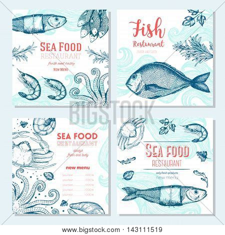 Seafood vintage design template. Square banners set. Vector illustration hand drawn linear art. Fish and seafood restaurant menu. Hand drawn sketch seafood menu vector banners
