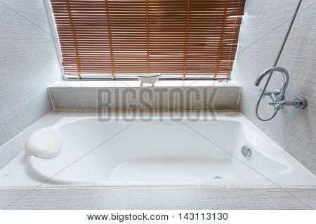 Bathtub white ceramic interior luxury in bathroom