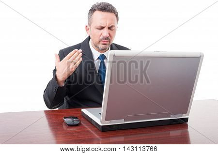 Stressed Businessman Sweating In His Office