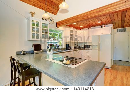 Classic American White Kitchen Interior With Granite Counter To