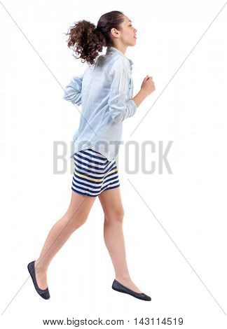side view of running  woman. beautiful girl in motion. backside view of person.  Rear view people collection. Isolated over white background. Swarthy girl in a checkered dress runs in the side and