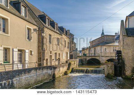 River Aure in historic center of Bayeux town France