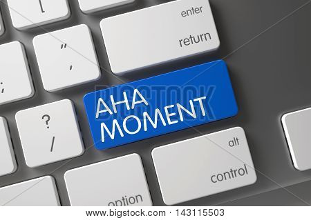 Aha Moment Concept: Metallic Keyboard with Aha Moment, Selected Focus on Blue Enter Button. 3D Illustration.