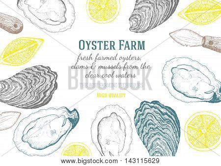 Vector illustration of oyster. Oyster farm and oyster restaurant design template.