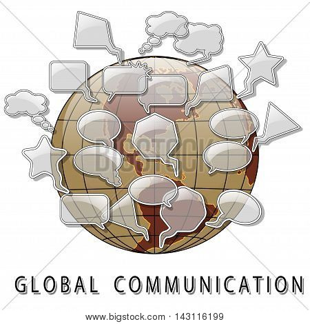 Illustration of a symbol of global communications on a white background.