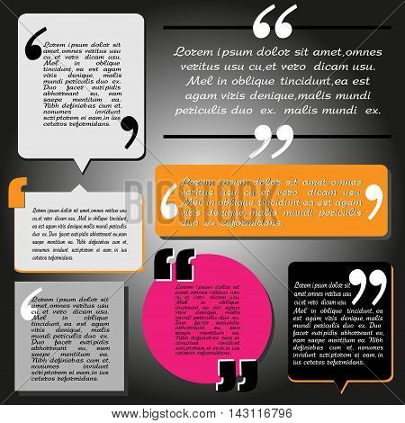 Block quote and pull quote design elements Design elements in different colors with text and different shapes