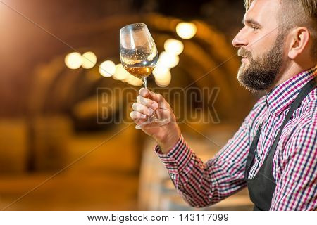 Handsome bearded blond sommelier looking at wine glass in the old cellar.