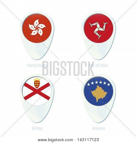 Hong Kong, Isle Of Man, Jersey, Kosovo Flag Location Map Pin Icon.