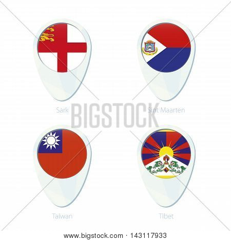 Sark, Sint Maarten, Taiwan, Tibet Flag Location Map Pin Icon.