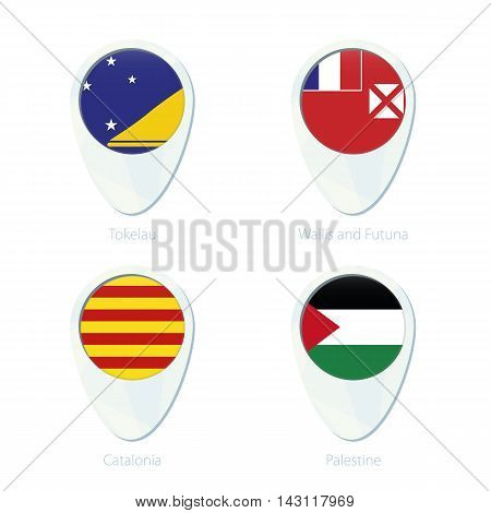 Tokelau, Wallis And Futuna, Catalonia, Palestine Flag Location Map Pin Icon.