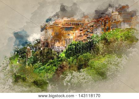 Principality of Monaco. Digital watercolor painting. Europe