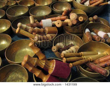 Tibetan Bowls With Sticks