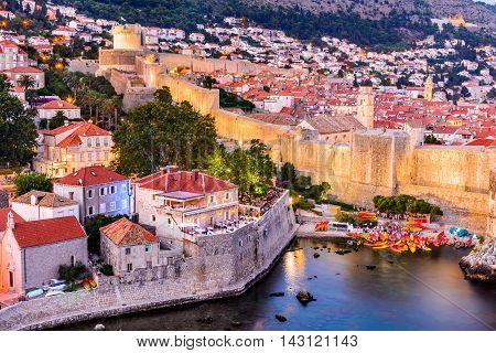 Dubrovnik Croatia. Spectacular twilight picturesque view on the old town of Ragusa from the Lovrijenac Fortress.