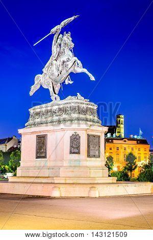 Vienna Austria. Statue of Archduke Karl-Ludwig-John on Heldenplatz Wien.