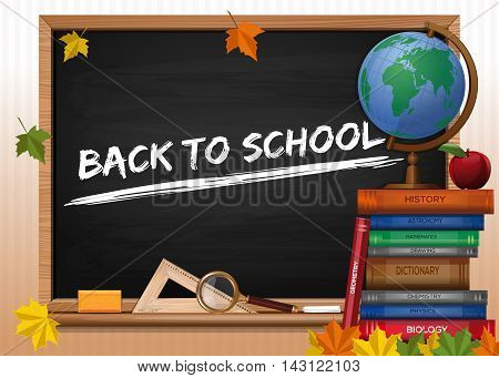 Blackboard. Back to school. Chalkboard with lettering books and autumn leaves. Vector illustration