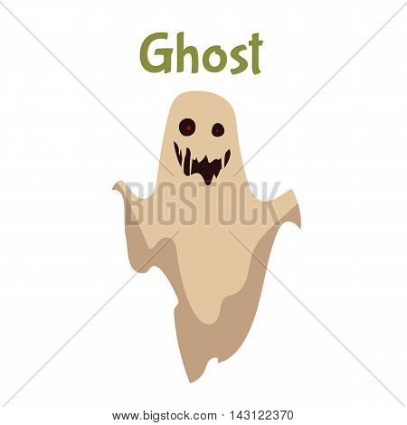 Scary ghost, Halloween costume idea, cartoon style vector illustration isolated on white background. Frightening red-eye ghost, traditional symbol of Halloween