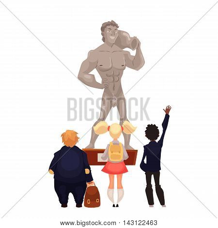Kids in museum looking at a sculpture, cartoon style vector illustration. Museum guide telling children about a work of art, historical statue. School trip to museum