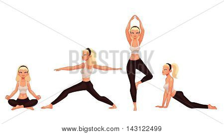 Set with beautiful woman in various poses of yoga, cartoon style vector illustration isolated on white background. Beautiful blond young woman, collection of yoga poses asanas, healthy lifestyle