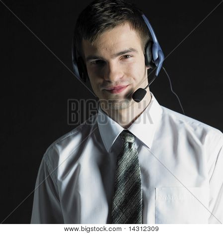 Man Wearing Telephone Headset
