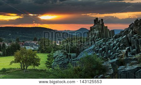 Panska Skala sunset geological formation stone organ Kamenicky Senov Czech Republic