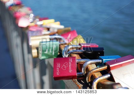love locks or padlocks symbolize everlasting love. selctive focus.