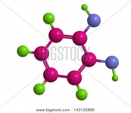 Molecular structure of Catechol (pyrocatechol) 3D rendering
