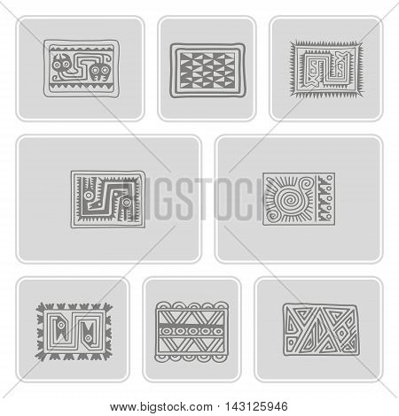 set of monochrome icons with Mexican relics dingbats characters for your design